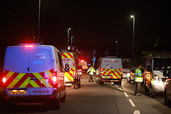 © Licensed to London News Pictures. 01/11/2020. Wigan, UK. Police respond to reports of a rave taking place in Astley near Wigan. Photo credit: Joel Goodman/LNP