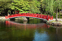 Wakutama Pond at Sengen Taisha Shrine,Formed by the melted snow of Mount Fuji, this pond has been designated a special natural treasure. The elegant, vermillion arched bridge hovers over the spring that flows from the foot of Kantate Knoll. In former times, those climbing Mount Fuji purified themselves in this sacred spring.