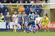 Wolverhampton Wanderers forward Raul Jimenez (9) attempts a bicycle kick during the The FA Cup fourth round match between Shrewsbury Town and Wolverhampton Wanderers at Greenhous Meadow, Shrewsbury, England on 26 January 2019.