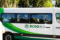 Guests begin to arrive to Rafa Nadal's wedding to Xisca Perelló in Mallorca, Spain. 19 Oct 2019 Pictured: Bus. Photo credit: MEGA TheMegaAgency.com +1 888 505 6342