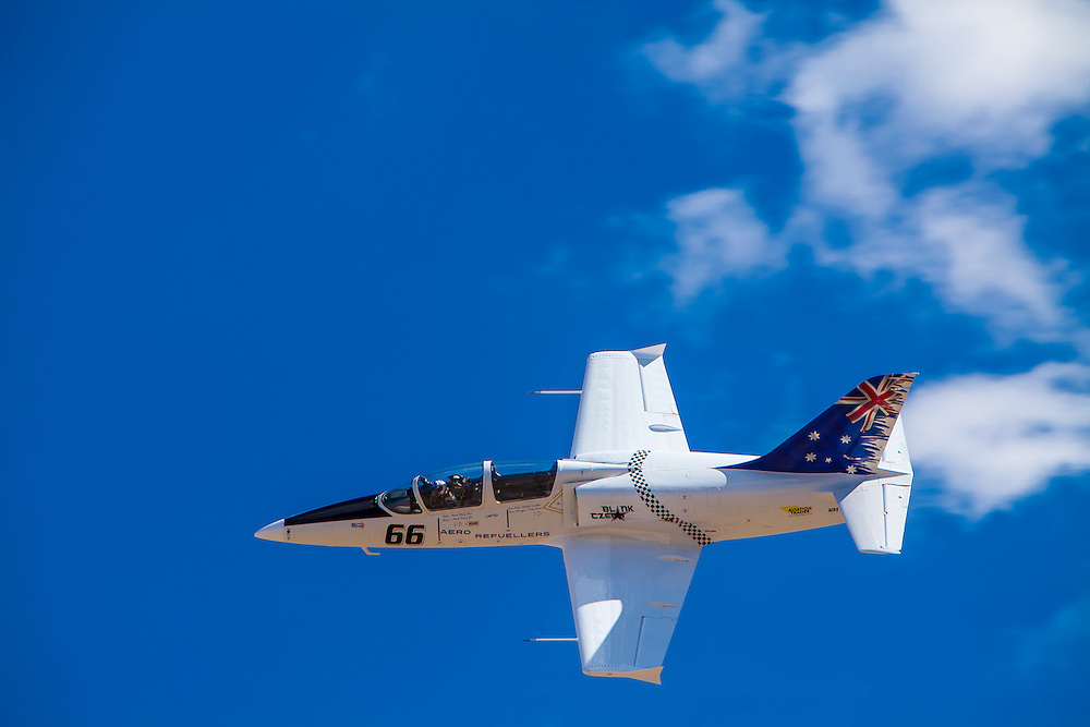 "L-39 ""Blank Czech"", flown by Mark Pracy of Ashtonfield, Australia in the Gold race on Sunday at Reno."