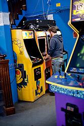 Playing games at Ground Kontrol