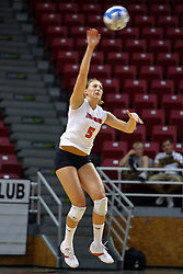 16 AUG 2008: Jessica Pratapas performs a jump serve during the annual Red-White intra-squad scrimmage at Redbird Arena on the campus of Illinois State University in Normal Illinois.