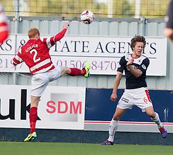 Hamilton's Ziggy Gordon and Falkirk's Will Vaulks.<br /> Falkirk 1 v 1 Hamilton, Scottish Premiership play-off semi-final first leg, played 13/5/2014 at the Falkirk Stadium.