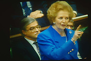 Prime Minister Margaret Thatcher seen on TV wagging a finger during exchanges at the dispatch box with Labour opposition. Thatcher died on April 8th 2013 after suffering a stroke while staying in the Ritz Hotel, London.