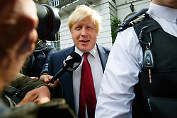 © Licensed to London News Pictures. 30/06/2016. London, UK. Former Mayor of London BORIS JOHNSON leaves his house in London before his press conference to make his bid to be next Conservative leader and UK Prime Minister on 30 June 2016. Photo credit: Tolga Akmen/LNP