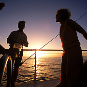 A sunset catamaran cruise on the island of Maui in Hawaii.