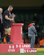 Wales capt Dan Lydiate with the trophy after the match.  Under Armour 2017 series Autumn international rugby, Wales v Georgia at the Principality Stadium in Cardiff , South Wales on Saturday 18th November 2017. pic by Andrew Orchard, Andrew Orchard sports photography