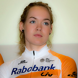 13-01-2016: Wielrennen: Presentatie Rabo wielerploegen: Papendal<br />PAPENDAL (NED) wielrennen<br />Het Rabobank-Liv vrouwenteam en het Developmentteam werden op Papendal voorgesteld. <br />Anna van der Breggen is ook in 2016 te zien in de Giro Rosa. De winnares van afgelopen jaar wil er de puntjes op de i zetten voor Rio. De olympische wegwedstrijd is namelijk loodzwaar.