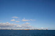 View of Salvador da Bahia in the distance with ocean, view from the ferry, Bahia, Brazil.