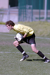 01 October 2006: Titan Goalie makes a save. .The game remained scoreless until the 2nd overtime in which University of Dallas Crusaders Adam Lunger scored the Golden Goal to beat the Illinois Wesleyan Titans.  This game was played at Neis Field on the campus of Illinois Wesleyan University in Bloomington Illinois.
