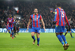 Crystal Palace's Andros Townsend (centre) celebrates scoring his side's first goal during the Premier League match at Selhurst Park, London, Thursday 28th December 2017