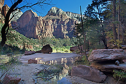 Middle Emerald Pool, canyon reflection, Zion National Park