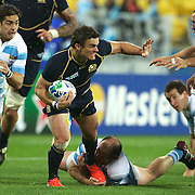 Max Evans, Scotland, is tackled by Rodrigo Roncero, Argentina, during the Argentina V Scotland, Pool B match at the IRB Rugby World Cup tournament. Wellington Regional Stadium, Wellington, New Zealand, 25th September 2011. Photo Tim Clayton...