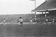 Dublin and Kerry both jump to catch the ball during the All Ireland Senior Gaelic Football Semi Final, Dublin v Kerry in Croke Park on the 23rd of January 1977. Dublin 3-12 Kerry 1-13.