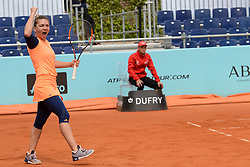 May 11, 2017 - Madrid, Spain - SIMONA HALEP of Romania celebrates winning her quarterfinal doubles match in the Mutua Madrid Open tennis tournament. (Credit Image: © Christopher Levy via ZUMA Wire)