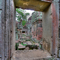 Window in temple complex at Angkor Wat, Cambodia