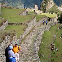 South America, Peru, Machu Picchu. Trail from the Sun Gate to Machu PIcchu.