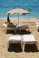 Detail view of the Figueretes beach on August 21, 2020 in Ibiza, Spain. Almost all Schengen countries recommend not traveling to Spain due to COVID -19. The quarantine imposed by the United Kingdom has been decisive, many establishments have not opened and the average occupancy is less than 50%.