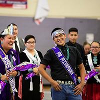 Kyia Dawes (left), 17, and Traei Peterson (right), 17 crowned Miss Miyamura and Mr. Miyamura Brave at Miyamura High School, Friday Nov. 16 in Gallup.