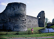 Moated medieval Pevensey castle  East Sussex, England,  in 1968