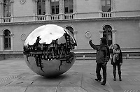"""""""Sphere With Sphere"""" by Arnaldo Pomodoro. Trinity College, Dublin, Ireland. Image taken with a Leica X2 camera (ISO 100, 24 mm, f/5, 1/250 sec). In camera B&W. Semester at Sea Spring 2013 Enrichment Voyage."""