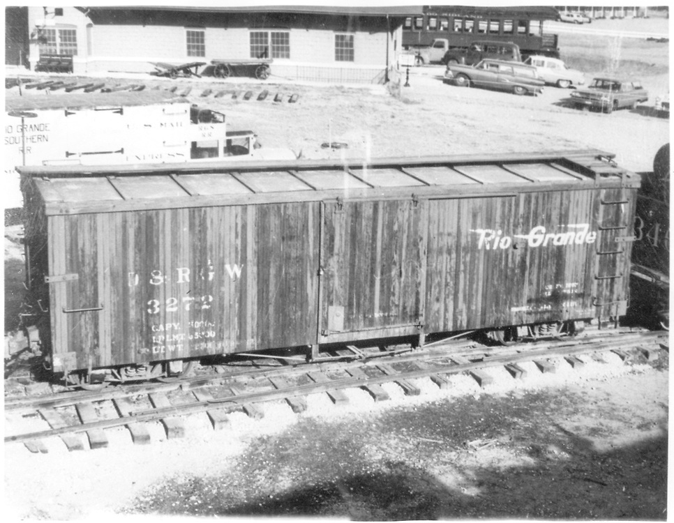 Elevated side view of box car #3272 at Colorado Railroad Museum.  RGS Goose #7 and Colorado Midland coach are in background.<br /> D&RGW  Colorado Railroad Museum, Golden, CO