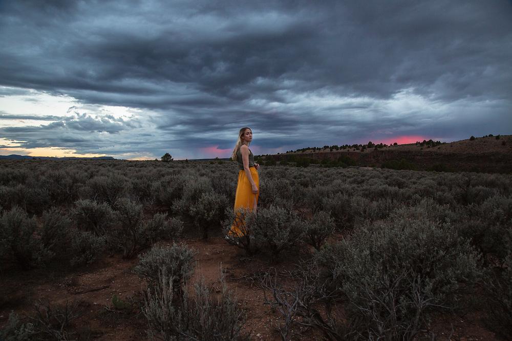 Self portrait taken at sunset, in Rachos De Taos, September 2018.