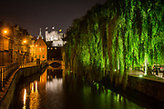The Lievekaai along the Castle of the Counts at night, Ghent, Belgium, 10.11.2014