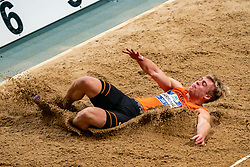 Sven Jansons in action on the long jump during AA Drink Dutch Athletics Championship Indoor on 21 February 2021 in Apeldoorn.