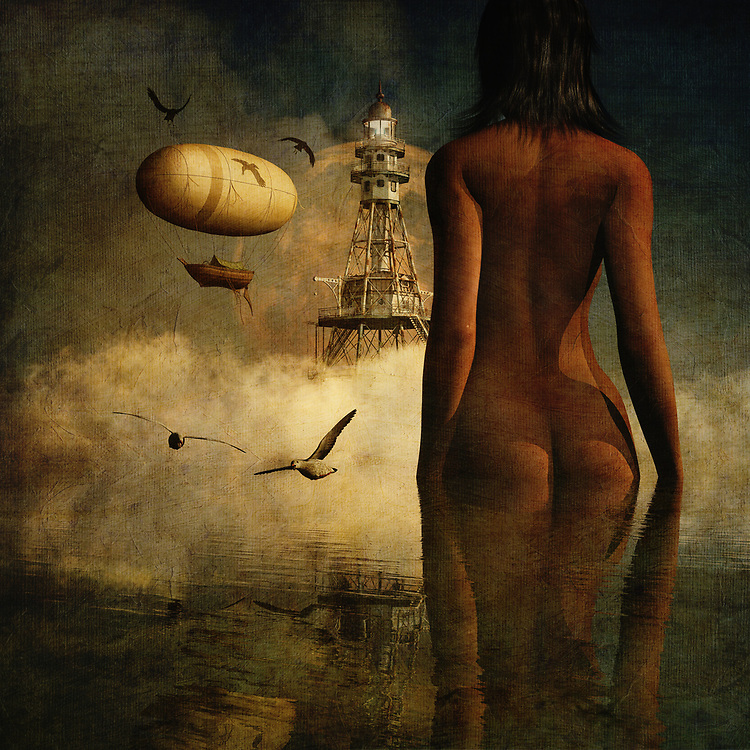Who is Julia? This is perhaps the most pressing question in this incredible mixed media offering from Jan Keteleer. There is no question that there is a great deal of mystery and intrigue with something like this. We see the nude form of this woman standing before an imposing lighthouse. We do not know what is in the lighthouse. We do not know why the woman is standing there. What do you think is going to happen next? Against a murky backdrop that haunts the soul, we can only speculate. There is so much that you can take from this piece. <br /> <br /> BUY THIS PRINT AT<br /> <br /> FINE ART AMERICA<br /> ENGLISH<br /> https://janke.pixels.com/featured/julias-dream-about-the-lighthouse-and-its-inhabitants-jan-keteleer.html<br /> <br /> <br /> WADM / OH MY PRINTS<br /> DUTCH / FRENCH / GERMAN<br /> https://www.werkaandemuur.nl/nl/shopwerk/Droom---De-droom-van-Julia-over-de-vuurtoren-en-haar-bewoners/434848/134