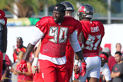 July 28, 2018 - Tampa, FL, U.S. - TAMPA, FL - JULY 28: Jason Pierre-Paul (90) goes thru drills during the Tampa Bay Buccaneers Training Camp on July 28, 2018 at One Buccaneer Place in Tampa, Florida. (Photo by Cliff Welch/Icon Sportswire) (Credit Image: © Cliff Welch/Icon SMI via ZUMA Press)