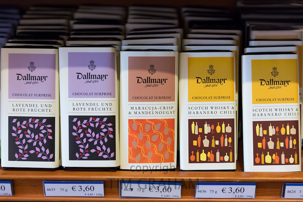 Luxury chocolate on display at Dallmayr food store in Munich in Bavaria, Germany
