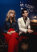 Ellen Foley and Mick Jones of the Clash backstage at the London Lyceum 1981