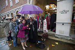 © London News Pictures. 20/11/2012. London, UK . Female members of the Church of England clergy arriving at Church House in Westminster, London for day two of the three-day Church of England General Synod. Members will vote on whether to allow women to become bishops, 20 years after the Church decided to ordain women as priests. Photo credit: Ben Cawthra/LNP