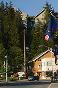 """Ketchikan is the fifth-largest city in terms of population in the U.S. state of Alaska. in Ketchikan Gateway Borough, Ketchikan's economy is based upon tourism and fishing and the city is known as the """"King Salmon Capital of the World."""" The Misty Fjords National Monument is one of the area's major attractions.<br /> Ketchikan is named after Ketchikan Creek, which flows through the town. Ketchikan comes from the Tlingit name for the creek, Kitschk-hin, which means """"spread wings of a prostrate eagle"""", which is said to refer to an outlined likeness of this image created by some nearby stream's course. Ketchikan also has the world's largest collection of standing totem poles located at three major locations: Saxman Village, Totem Bight, and the Totem Heritage Center.<br /> <br /> Cape Fox hotel and Tramway."""