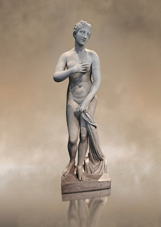 """1st Century BC statue of Aphordite by Menophantos. The casket of the sculpture is inscribed """" of the Aphrodite which is situated in the Troad (Troy) Menophantos made it"""". This sculpture depicts Aphrodite in the typical pose known as the Modest Aphrodite style and is a copy of a lost 4th century BC Aphrodite of Cnidos sculpture by Athenian sculpture Praxiteles. Capitoline Museums, Rome"""