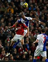 Photo: Steve Bond/Richard Lane Photography. Manchester United v Blackburn Rovers. Barclays Premiership 2009/10. 31/10/2009. Steven Nzoni (upper R) climbs over Wes Brown