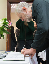 """Finsbury Park Mosque, London, February 7th 2016. Labour Leader and local MP Jeremy Corbyn signs the visitor' book at Finsbury Park Mosque which he visited as part of a Visit My Mosque initiative by the Muslim Council of Britain to show non-Muslims """"how Muslims connect to God, connect to communities and to neighbours around them"""".<br /> . ///FOR LICENCING CONTACT: paul@pauldaveycreative.co.uk TEL:+44 (0) 7966 016 296 or +44 (0) 20 8969 6875. ©2015 Paul R Davey. All rights reserved."""