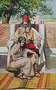 DAVID AND ABISHAG. I Kings i. 3. So they sought for a fair damsel throughout all the coasts of Israel, and found Abishag a Shunammite, and brought her to the king. From the book ' The Old Testament : three hundred and ninety-six compositions illustrating the Old Testament ' Part II by J. James Tissot Published by M. de Brunoff in Paris, London and New York in 1904