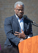 Charles Cave comments during a groundbreaking ceremony at Codwell Elementary School, March 3, 2017.