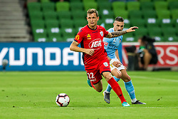 February 9, 2019 - Melbourne, VIC, U.S. - MELBOURNE, AUSTRALIA - February 09 : Michael Jakobsen of Adelaide United  controls the ball in front of Jamie Maclaren of Melbourne City during round 18 of the Hyundai A-League Series between Melbourne City and Adelaide United on February 9 2019, at AAMI Park in Melbourne, Australia. (Photo by Jason Heidrich/Icon Sportswire) (Credit Image: © Jason Heidrich/Icon SMI via ZUMA Press)