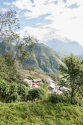 Himalaya village mountains houses snow trees