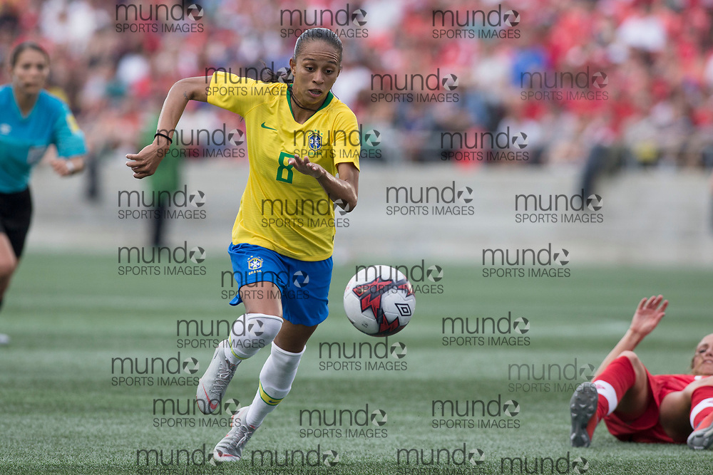 OTTAWA, ON - September 2: Adriana (8) of Brazil in an international FIFA women's friendly soccer match between Canada and Brazil at TD Place Stadium in Ottawa, Canada, September 2, 2018. Canada defeated Brazil 1-0. (Photo by Sean Burges/Mundo Sport Images)