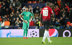 Manchester United goalkeeper Sergio Romero shows his dejection after the final whistle