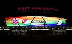 A general view of a billboard in association with Stonewall and Rainbow laces at the London Stadium