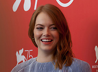 Emma Stone at the photocall for the film The Favourite at the 75th Venice Film Festival, on Thursday 30th August 2018, Venice Lido, Italy.