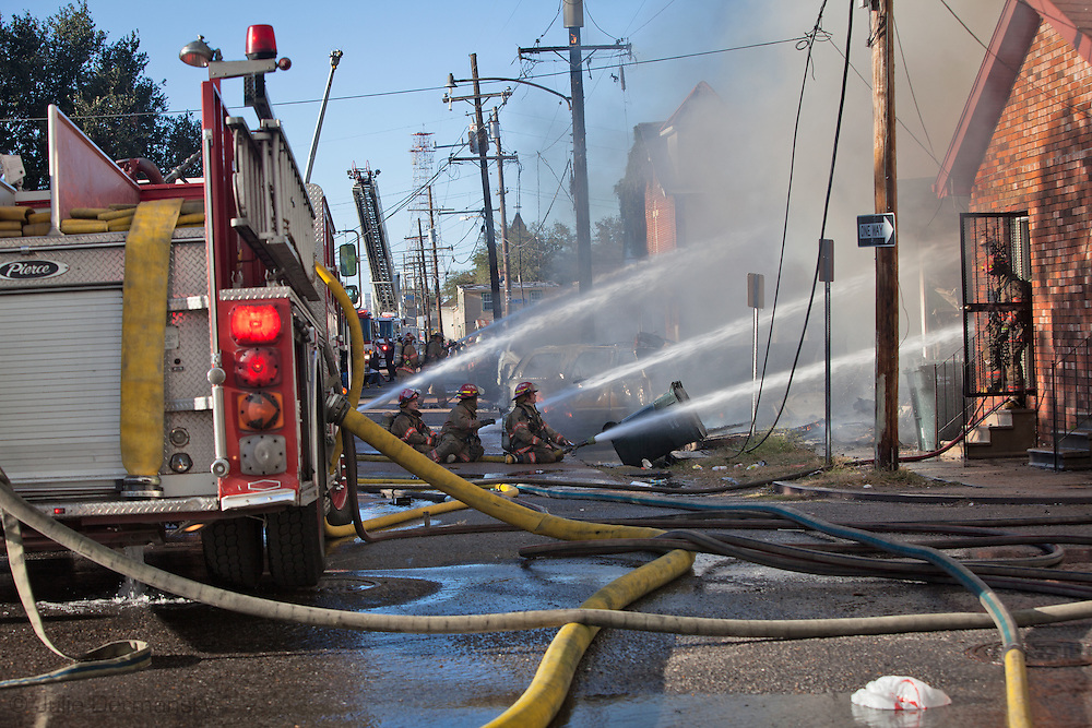 November 24, firefighters battle a 6-alarm fire in Central City New Orleans in the 3300 block of First Street.  The fire destroyed almost an entire city block including homes and a church. Smoke from the fire filled the sky for miles.