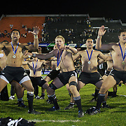 New Zealand players perform the Haka to the crowd after winning the IRB Junior World Championships in Argentina. New Zealand won the final against Australa 62-17 at Estadio El Coloso del Parque, Rosario, Argentina. 21st June 2010. Photo Tim Clayton..