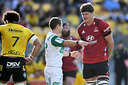 Match referee Paul Williams speaks to Crusaders Scott Barrett in the Super Rugby match, Hurricanes v Crusaders, Sky Stadium, Wellington, Sunday, April 11, 2021. Copyright photo: Kerry Marshall / www.photosport.nz